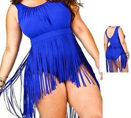 Wholesale Plus Size Swimwear Fringe - PLUS SIZE Women's Tassels Bikini Swimwear Padded Push Up plus size Swimsuit Fringes Bathing Suit