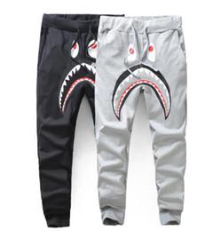 Wholesale Active P - Mens Sportswear Pants Jogger Tracksuit Causel Terry Fabric Crewneck Bird OVO Drake Black Hip Hop stusay Men Shark Mouth A P Ehead trousers