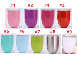 Wholesale Wall Decoration Red - stemless wine cup 9colors egg cups 10oz Wine Glasses 304 Stainless Steel Double Wall Vacuum Insulated Cups With Lids Red Wine cups