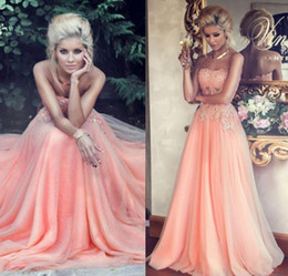 Wholesale Strapless Peach Long Dress - 2015 Hot Sales Peach Prom Dresses Beaded Lace Appliques Polyester Boning A-Line Floor-length Chiffon Evening Gown Formal Dress Party Gowns