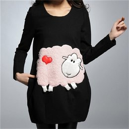 Wholesale Dress Clothes For Gravida - Cotton Loose Dresses for Pregnant Women,Winter Maternity Dresses Full Sleeve,Cartoon Sheep Grossesse Clothes,Vestido De Gravida