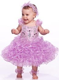 Canada Filles Pageant Lilas Robes De Bal New Hot Strass Perles Volants Organza Toddler Enfants Fleur Filles Robes Offre