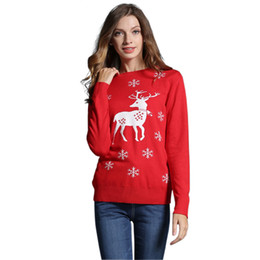 Wholesale Girls Sweater Knit Pattern - Women's Ugly Christmas Sweater Pullovers Autumn Long Sleeve Cute Girls Reindeer Snowman Pattern Knit Xmas Party Pullover Jumper