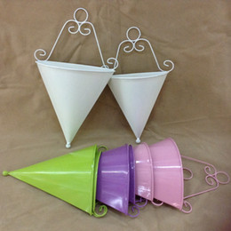 Wholesale Decoration Metal Flower Pot - Wall Hanging Flower Pot Cone Shape Metal Iron Planters For Home Balcony Decoration Garden Pots New Arrival 8zx B R