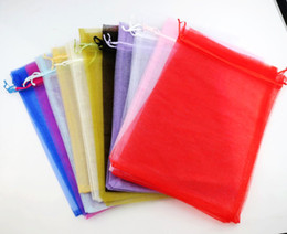 Wholesale Wholesale Wine Packaging - 11colors Rectangle Organza Bags Wine Bottle Gift Pouches Candy Bag 20X30cm GB036 Jewelry Packaging Display hot sell