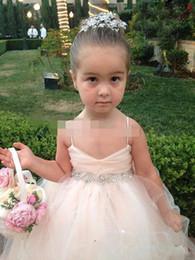 Wholesale Girls Skirt Straps - Spaghetti Straps V Neck Flower Girls' Dresses 2015 Dresses for little Girls' Pageant Tulle Skirt Beaded Sash Covered Button Bow Back_
