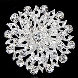 Wholesale Girls Clothes Wholesale China - Very Pretty Silver Plated Clear Crystal Flower Pin Brooch Girls Clothes Collar Pins Wedding Jewelry B336