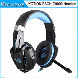Wholesale Headset Surround Mic - KOTION EACH 3.5mm & USB 7.1 Surround Sound Gaming Headphone Headset Headband with Mic LED Light for PS4 PC Tablet Mobile Phones 002995