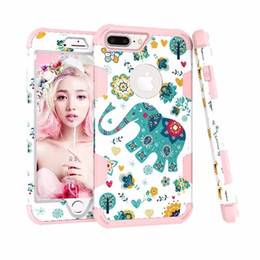 Wholesale Cute Protective Iphone Cases - 3 in 1 Layer Hybrid Shockproof Full Body Armor Defender Protective Cute Elephant Heavy Duty Case for iphone x 8 7 6S 6 Plus Samsung Note8 S8