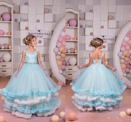 Fleurs noires de noel en Ligne-2018 Ruffle Princess Girls Pageant Robes Blanc et Bleu Perles Lace Up Retour Flower Girl Dress Belle robe de bal Robes de Filles de Noël