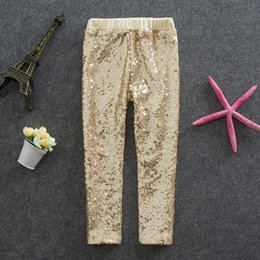 Wholesale Autumn Leggings - Girls Leggings kids gold sequins pants Autumn New children Bottoms girls princess pants A6949
