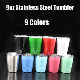 Wholesale Wine Flower - 9oz Cup with lids straws Insulated Tumbler Stainless Steel Mugs Wine Tumbler Wine Glasses mug straw 9 colors #4374