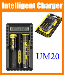 Wholesale E Cigarettes Battery Display - Nitecore UM20 Intellicharger LCD Display E Cigarette Battery Charger for 18650 18350 18500 14500 Battery pk Nitecore I4 D2 D4 UM10 FJ113