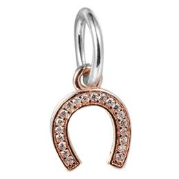 Cuentas de herradura de plata online-Dangle Golden Horseshoe Símbolo de la suerte con Clear CZ 100% 925 Sterling Silver Beads Fit Pandora Charms Bracelet Authentic DIY Fashion Jewelry