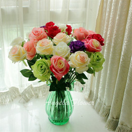 Wholesale Artificial Hot Pink Roses Wholesale - Hot Sale Artificial Fresh rose Flowers Real Touch Home decorations for DIY Birthday Wedding Party