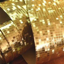 Wholesale Luxury Gold Foil Mosaic Wallpaper - Luxury Modern Mosaic Tile Wallpaper Flicker Gold Foil Wall paper rolls Silver background decoration Wall Sticker Tiles Wallpaper