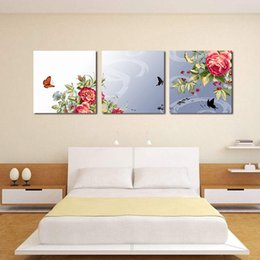 Wholesale Peony Flowers Pictures - Triple cross Subshrubby peony flower on Canvas Prints decorating the living room Decorative Modern Wall Art Paintings spray painting