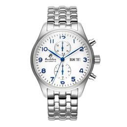 Wholesale Business Week - New automatic mechanical watch men's business fashion sport watch week   calendar stainless steel true leather BAOLILONG brand