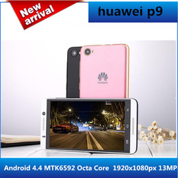 Wholesale 3g Wcdma Mobile Phones - 2017 new huawei p9 copy Mobile Phone 5 inch IPS 1920x1080px 13MP Android 4.4 MTK6592 Octa Core 2G RAM 16G ROM Dual SIM 3G Phone with gifts