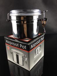 vaso d'acqua in acciaio inossidabile Sconti acciaio inossidabile di migliore qualità di media dimensione pentola di Airproof della scatola del tabacco per il trasporto libero di vetro del tubo dell'acqua del smokng di vetro
