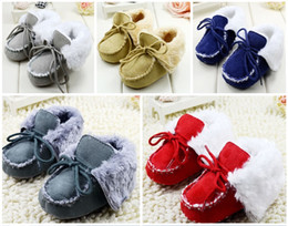 Wholesale Velvet Fabric Baby Shoes - 2015 winter plus velvet lapel lace toddler warm boots Solid Mark Line baby casual sports shoes indoor stumble 5pair 10pcs CL