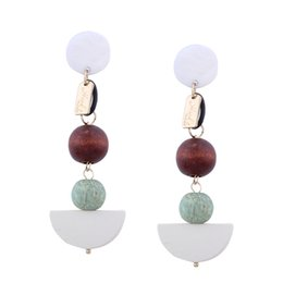 Wholesale Sphere Earrings - 2017 New Pattern Personality Exaggeration Geometric Solid Sphere Shape Femininity Color Matching Stud Earrings Design Style High Quality