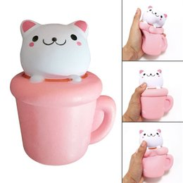 Wholesale New Toys Pussy - 2017 New brand 14CM Jumbo Pink Cup Cat Pussy Squeeze Squishy Kawaii Cute Animal Slow Rising Scented Bread Cake Kid Toy Gift