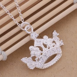 Wholesale Imperial Crown Pendant - Free Shipping with tracking number Best Most Hot sell Women's Delicate Gift Jewelry 925 Silver Imperial crown Necklace