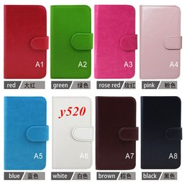 Wholesale Huawei Ascend Flip Case - High quality Factory price Free DHL Stand Glossy wallet flip leather case for Huawei Ascend y520 phone cover with credit card slots