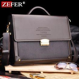 Wholesale Zefer Laptop Bags - High quality 2016 Brand Zefer male business bag briefcase man bag shoulder bag lock laptop bag