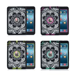 Wholesale Animal Cases For Tablets - Hybrid Elephant Mandala Henna Heavy Duty Silicone gel PC Hard Case Robot Shockproof Tablet For Ipad Mini 1 2 3 7.9'' Round Hole skin Luxury