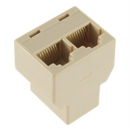 cat6 connectors Promo Codes - 1pcs SOCKET RJ45 Splitter New CAT5 CAT6 LAN Ethernet Connector Adapter 8P8C Network modular plug PC laptop cable contact switch