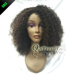 Wholesale Kanekalon Hair Wigs - Kanekalon Short Italian Yaki kinky curly hair wig, Synthetic black mix brown color fashion African American wigs for black women