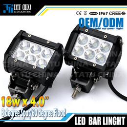 Wholesale Led Driving Lights 4wd - LED bar light 18WLED Work offroad Light spot flood Beam fog driving bar 4WD 4X4 ATV Truck