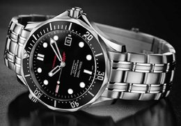Wholesale Professional Diving Watch - Wholesale-Mechanical Watches Luxury Men Stainless Steel Marine Scuba Diving in The James Bond 007 Professional Sports Watch