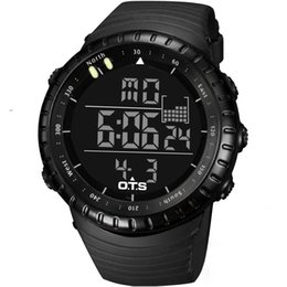 Wholesale Top Brand OTS Cool Black Mens Fashion Large Face LED Digital Swimming Climbing Outdoor Man Sports Watches Christmas Boys Gift