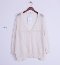 Wholesale Thin Transparent Computer - Wholesale- Fashion new women linen knit cardigan thin section solid color V-neck Basic Style big size transparent knitted cardigan