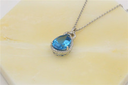 Wholesale Aquamarine Pendants Sterling Silver - Chinese Occident Style 925 Silver Necklace Love Charm Aquamarine Blue Austrian Crystal Pendant Jewelry Swarovski Elements Freeshipping