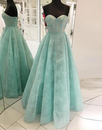 Wholesale Hot Photos Nude - Mint Lace Cheap Evening Dress Sweetheart A line Open Back Real Photos Floor length Prom Formal Pageant Dresses Gowns New Hot Sale Party