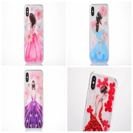 Wholesale Stylish Dresses For Girls - Sexy Lady Girl Soft TPU Case For Iphone X 8 7 Plus 6 6S Fashion Bling Stylish Flower Butterfly Dress Colorful Skin Cover