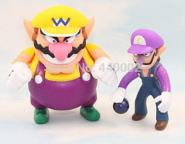"Wholesale Super Mario Figures Waluigi - Hot Sale super mario bro Wario Waluigi set of 2 pvc action figure toys dolls 3.5""9cm  5""12cm children toys chritmas gift"