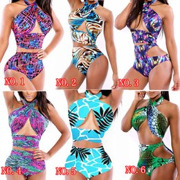 Wholesale Sexy Bathing Suit Criss Cross - 6 Style Sexy Criss Cross Halter Top High Waisted Bathing Suits Wrap Bikini Print floral snake Swimwear Women Bandage Swimsuit Plus Size M-XL