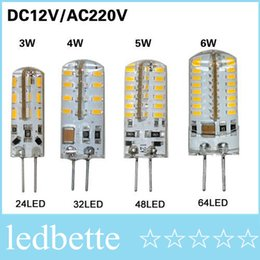 Wholesale G4 5w Warm - 20Pcs SMD 3014 G4 3W 4W 5W 6W LED Crystal lamp light DC 12V   AC 220V Silicone Body LED Bulb Chandelier 24LED 32LED 48LED 64LEDs