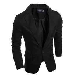 esmoquin negro solo botón Rebajas Los hombres al por mayor de la moda de Wholesale-2016 cultivan su traje de la moralidad / traje de ocio de los hombres / Blazers de gama alta de los hombres
