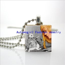 Wholesale Wooden Ball Necklaces Wholesale - 2015 New Alice And The White Rabbit In Wonderland Jewelry Ball Chain Necklace Wooden Scrabble Tiles E-45