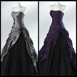 Wholesale Sexy Black Gothic Wedding Gowns - Purple And Black Ball Gown Gothic Wedding Dresses for Brides Strapless Grey Floor Length Actual Picture Bridal Gowns Vestidos de Novia 2015