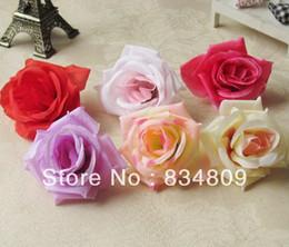 Tête artificielle fleurs artificielles en Ligne-100 pcs / Sac 8.5 cm Diamètre Soie Fleur Tête Grande Rose Fleurs Fleurs Artificielles Boule Tête Broche De Mariage Décoration Fleur