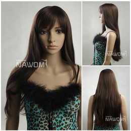 Wholesale Dark Brown Synthetic Wigs - european hair wigs dark brown wigs for women hair weaves Synthetic fiber of 100% Kanekalon 1pc Lot Free Shipping 0729S678-6