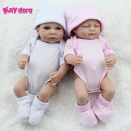 Wholesale Baby Full Month - Wholesale- KAYDORA 1 Pair 10 inch 25cm Reborn Baby Dolls Full Body Vinyl Silicone Small Lifelike Bebe Reborn Babies Kids Bath Toy Bonecas