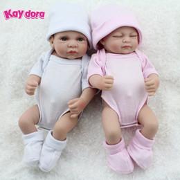 Wholesale Dolls Reborn - Wholesale- KAYDORA 1 Pair 10 inch 25cm Reborn Baby Dolls Full Body Vinyl Silicone Small Lifelike Bebe Reborn Babies Kids Bath Toy Bonecas